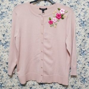 Cable & Gauge cardigan pink ribbon flowers